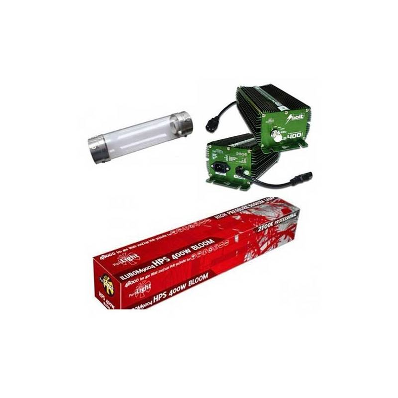 Kit 400 W Bolt + Cooltube 125 mm + Pure Light Hps 400 W Bloom